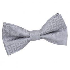Silver Greek Key Pre-Tied Bow Tie