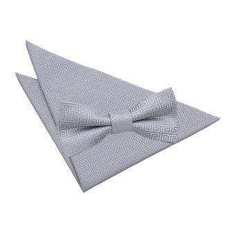 Silver Greek Key  Bow Tie & Pocket Square Set