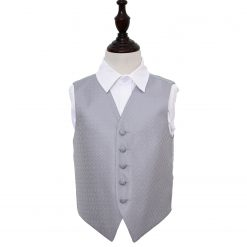 Silver Greek Key Wedding Waistcoat for Boys