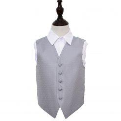 Silver Greek Key Wedding Waistcoat for Boys