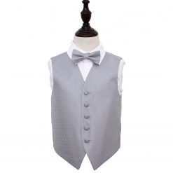 Silver Greek Key Wedding Waistcoat & Bow Tie Set for Boys