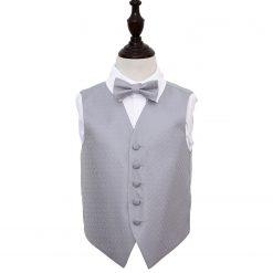 Silver Greek Key Wedding Waistcoat & Bow Tie Set for Boys