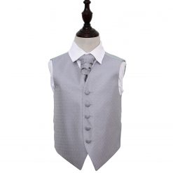 Silver Greek Key Wedding Waistcoat & Cravat Set for Boys