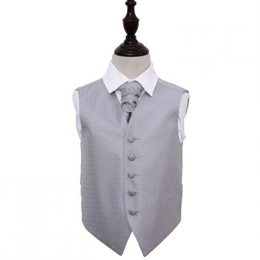 Silver Greek Key Wedding Waistcoat & Cravat Set for Boys