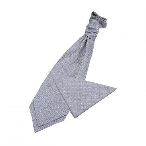 Silver Greek Key Wedding Cravat & Pocket Square Set