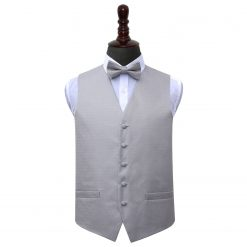 Silver Greek Key Wedding Waistcoat & Bow Tie Set