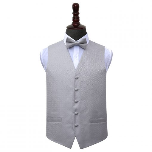 Silver Greek Key Wedding Waistcoat & Bow Tie Set