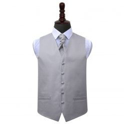Silver Greek Key Wedding Waistcoat & Cravat Set
