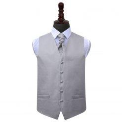Silver Greek Key Wedding Waistcoat & Cravat Set