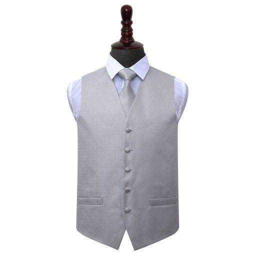 Silver Greek Key Wedding Waistcoat & Tie Set