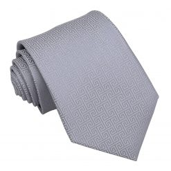 Silver Greek Key Classic Tie