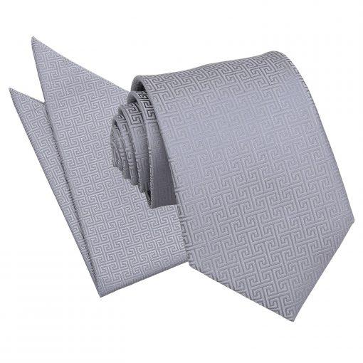 Silver Greek Key Tie & Pocket Square Set
