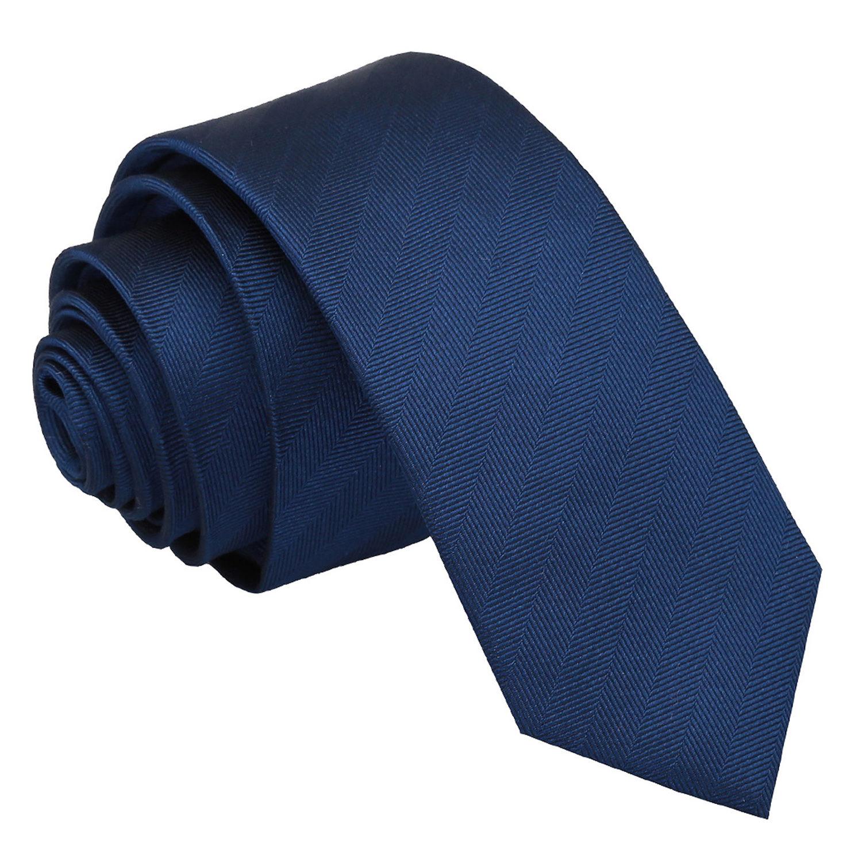 JA Herringbone Silk Midnight Blue Skinny Tie