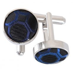 Black, Blue & Silver Honeycomb Polka Dot Cufflinks