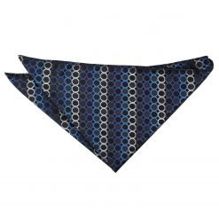 Black, Blue & Silver Honeycomb Polka Dot Pocket Square