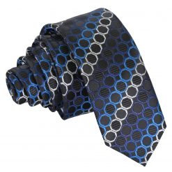 Black, Blue & Silver Honeycomb Polka Dot Skinny Tie
