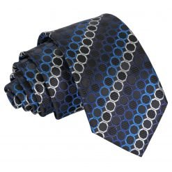 Black, Blue & Silver Honeycomb Polka Dot Slim Tie