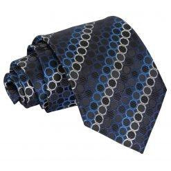 Black, Blue & Silver Honeycomb Polka Dot Classic Tie