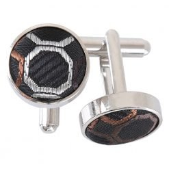 Black, Brown & Silver Honeycomb Polka Dot Cufflinks