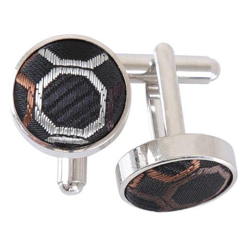 Black, Brown & Silver Honeycomb Polka Dot Cufflinks