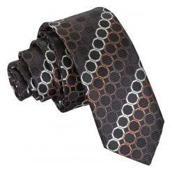 Black, Brown & Silver Honeycomb Polka Dot Skinny Tie