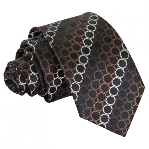 Black, Brown & Silver Honeycomb Polka Dot Slim Tie