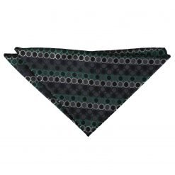 Black, Green & Silver Honeycomb Polka Dot Handkerchief / Pocket Square