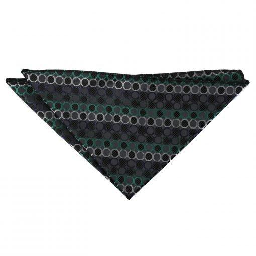 Black, Green & Silver Honeycomb Polka Dot Handkerchief / Pocket Square