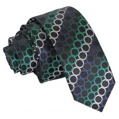 Black, Green & Silver Honeycomb Polka Dot Skinny Tie