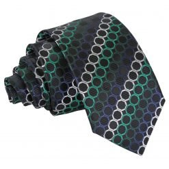 Black, Green & Silver Honeycomb Polka Dot Slim Tie
