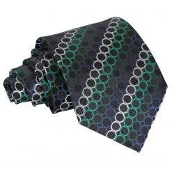 Black, Green & Silver Honeycomb Polka Dot Classic Tie