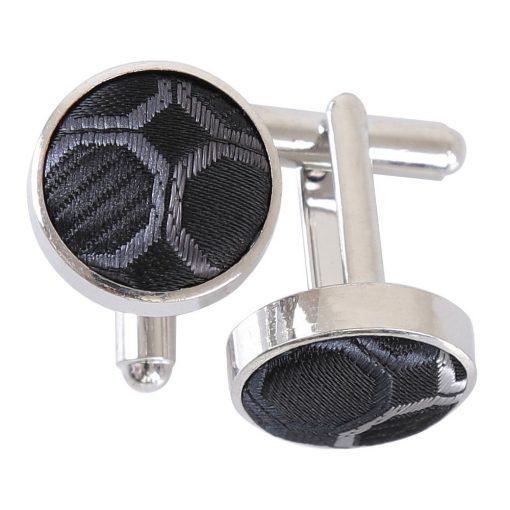 Black, Platinum & Silver Honeycomb Polka Dot Cufflinks