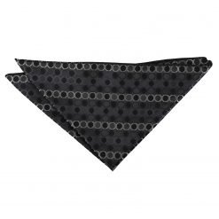 Black, Platinum & Silver Honeycomb Polka Dot Pocket Square