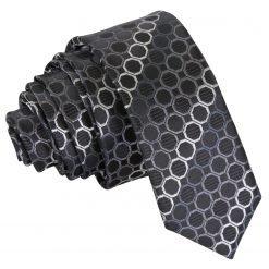 Black, Platinum & Silver Honeycomb Polka Dot Skinny Tie