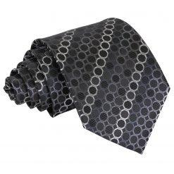 Black, Platinum & Silver Honeycomb Polka Dot Classic Tie