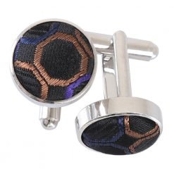 Black, Purple & Bronze Honeycomb Polka Dot Cufflinks