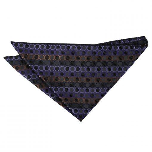 Black, Purple & Bronze Honeycomb Polka Dot Handkerchief / Pocket Square