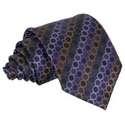 Black, Purple & Bronze Honeycomb Polka Dot Classic Tie