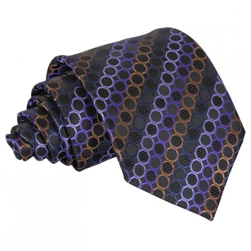 Black, Purple & Bronze Honeycomb Polka Dot Classic Tie