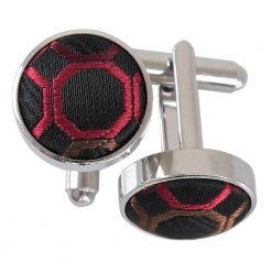 Black, Red & Bronze Honeycomb Polka Dot Cufflinks