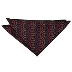Black, Red & Bronze Honeycomb Polka Dot Handkerchief / Pocket Square