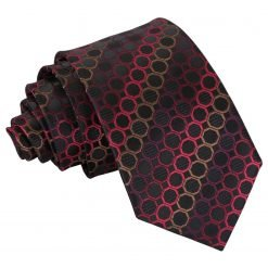 Black, Red & Bronze Honeycomb Polka Dot Slim Tie