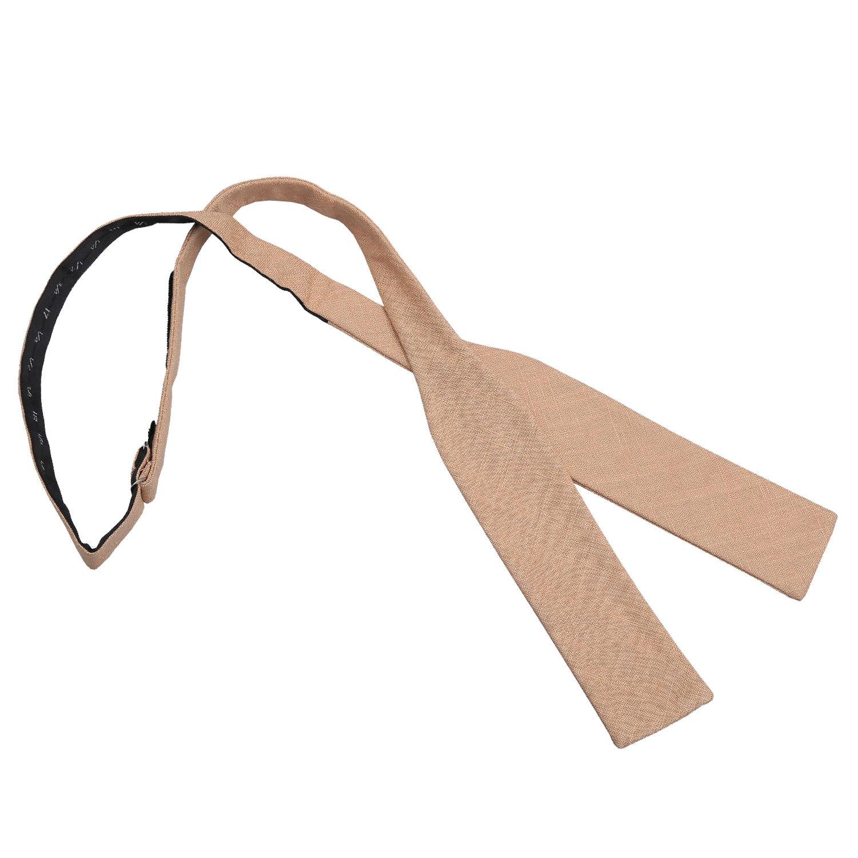 JA Hopsack Linen Gold Batwing Self Tie Bow Tie