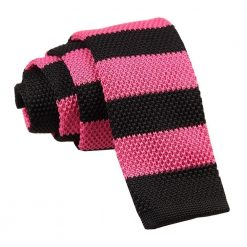 Hot Pink & Black Striped Knitted Skinny Tie