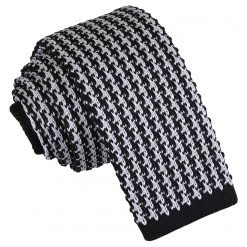 White and Black Houndstooth Knitted Skinny Tie