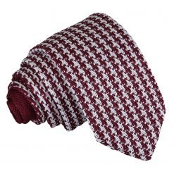White and Burgundy Houndstooth Knitted Slim Tie