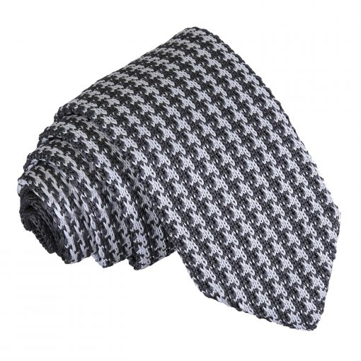 White and Grey Houndstooth Knitted Slim Tie
