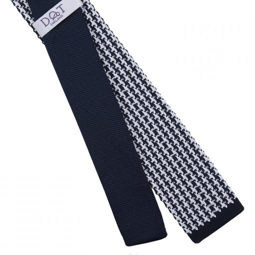 White and Navy Houndstooth Knitted Skinny Tie