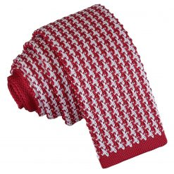 White and Red Houndstooth Knitted Skinny Tie