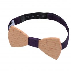 Cadbury Purple Panama Silk Beech Wood Bow Tie